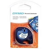 Image of Dymo LetraTag Tape Plastic 12mmx4m Black on Clear Ref S0721530
