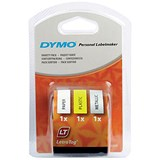 Image of Dymo LetraTag Tape Plastic 12mmx4m Assorted Rolls Ref S071640 [Pack 3]