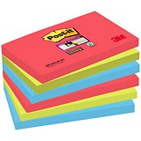 Image of Post-it Super Sticky Colour Notes / 76x127mm / BoraBora / Pack of 6 x 90 Notes