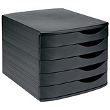Image of 5 Star Desktop Drawer Set with 5 Drawers / A4 & Foolscap / Black