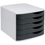 Image of 5 Star Desktop Drawer Set with 5 Drawers / A4 & Foolscap / Grey & Black