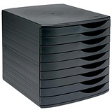 Image of 5 Star Desktop Drawer Set with 9 Drawers / A4 & Foolscap / Black