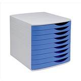 Image of 5 Star Desktop Drawer Set with 9 Drawers / A4 & Foolscap / Grey & Blue
