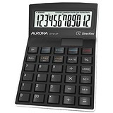 Aurora Semi-desk Calculator / 12 Digit / 3 Key / Battery/Solar Power / Black