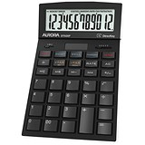 Aurora Desktop Calculator / 12 Digit / 4 Key / Battery/Solar Power / Black