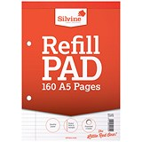 Image of Silvine Headbound Refill Pad / A5 / Punched & Perforated / Feint Ruled / 160 Pages / Pack of 6