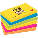 Post-it Super Sticky Removable Notes / 76x127mm / Rio / Pack of 6 x 90 Notes