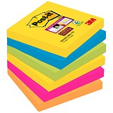 Post-it Super Sticky Removable Notes / 76x76mm / Rio / Pack of 6 x 90 Notes