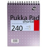 Image of Pukka Metallic Wirebound Shortie Pad / 235x178mm / Feint Ruled / 240 Pages / Pack of 3