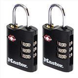 Image of Masterlock Combination Padlock 3 Digit ABS TSA Certified 2x30mm Ref RY40046 [Pack 2]