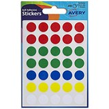 Image of Avery Coloured Labels / 13mm Diameter / Assorted / 32-512