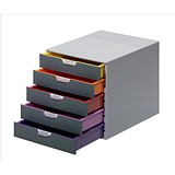 Image of Durable Varicolor Stackable Desktop Drawer Set with 5 Drawers / A4