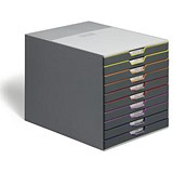 Image of Durable Varicolor Stackable Desktop Drawer Set with 10 Drawers / A4
