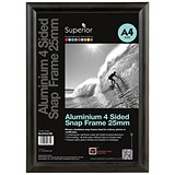 Snap Frame with Mounting Kit Aluminium Anti-glare PVC A4 Black
