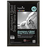Snap Frame with Mounting Kit Aluminium with Anti-glare PVC Front-loading A3 335x17x457mm Black