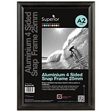 Snap Frame with Mounting Kit Aluminium with Anti-glare PVC Front-loading A2 463x18x632mm Black