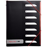 Image of Black n' Red A4 Sorter with Tabs / 7-Part / Black