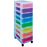Image of Really Useful Storage Tower / 8 Drawers 8x7L / Clear & Assorted