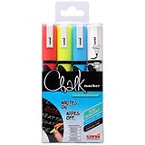 Uni Chalk Marker / Medium / Bullet Tip / Assorted Colours / Wallet of 4