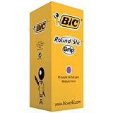 Image of Bic Round Stic Grip Pen / 1.0mm Tip / 0.4mm Line / Purple / Pack of 40