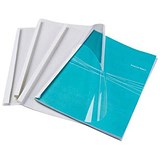 Image of Fellowes Thermal PVC Binding Covers / 3mm / Front: Clear / Back: Gloss White / A4 / Pack of 100
