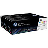 Image of HP 128A Laser Toner Cartridges - Cyan, Magenta and Yellow (3 Cartridges)