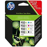 Image of HP 932XL/933XL Cartridge Combo Pack - Black, Cyan, Magenta and Yellow (4 Cartridges)