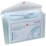 Image of Snopake Foolscap PolyFile Trio Wallet Files with Pocket / Clear / Pack of 5