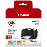 Image of Canon PGI-1500XL High Yield Inkjet Cartridge Pack - Black, Cyan, Magenta and Yellow (4 Cartridges)
