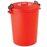 Image of Dustbin with Clip Lid / 110 Litre / Red