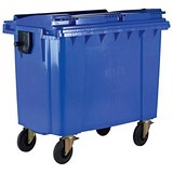 Image of Four-Wheeled Bin / 1100 Litre / 67kg / W1400xD1200xH1450 / Blue