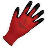Polyco Safety Gloves / Light-duty / Level 1 / Size 9 / Red & Black / Pair