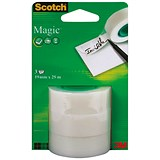 Scotch Magic Tape / 19mm x 25m Refill Roll / Pack of 3