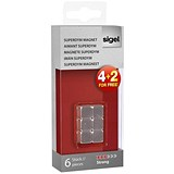 Sigel SuperDym Magnets / 10mm / Strong / Pack of 6
