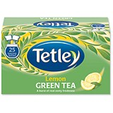 Tetley Green Tea with Lemon Tea Bags / Individually-wrapped / Pack of 25