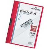 Image of Durable Duraclip Folders / PVC / Clear Front / 3mm Spine for 30 Sheets / A4 / Red / Pack of 25