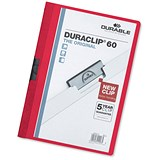 Image of Durable Duraclip Folders / PVC / Clear Front / 6mm Spine for 60 Sheets / A4 / Red / Pack of 25