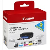 Image of Canon PGI-550/CLI-551 Ink Cartridge Multipack - Cyan, Magenta, Yellow, Black and Grey (5 Cartridges)