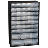 Image of Raaco Cabinet 40-Drawer Steel Frame Wall Mount or Free Stand Stop Catches on Drawers Black Ref 132107