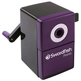 Image of Swordfish Pointi Mechanical Pencil Sharpener Auto-stop 8mm dia. Desk Clamp Black/Purple Ref 40235