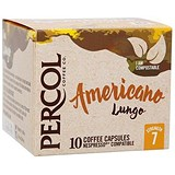 Percol Americano Lungo Capsules Coffee Strength 7 - Pack of 10