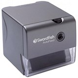 Image of Swordfish Electric Pencil Sharpener Auto-feed Auto-eject Safety Shutter 8mm dia. Silver Ref 40327
