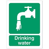 Image of Stewart Superior Self Adhesive Catering Sign Drinking Water W150xH200mm Ref SP110