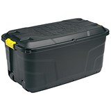 Heavy Duty Strata Storage Trunk with Lid & Wheels / 75 Litre / Black
