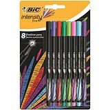 Image of Bic Intensity Fine Writing Felt Pen 8 Assorted Bright Colours Ref 942075 [Pack 8]