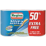 Image of Regina Blitz Kitchen Towel No Smears Recycled Pure Pulp 70 Sheets per Roll White Ref 1105180 [Pack 3]