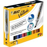 Image of Bic Velleda 1781 Whiteboard Marker / Chisel Tip / 3.2-5.5mm Line / Assorted / Wallet of 6