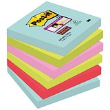 Image of Post-It Super Sticky Notes / 76x76mm / Aqua Assorted / Pack of 6 x 90 Notes
