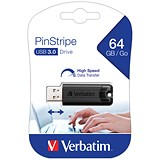 Verbatim Pinstripe 3.0 Flash Drive / 64GB / Black