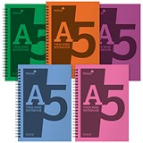 Silvine Notebook / A5 / Wirebound / 160 Pages / Assorted / Pack of 5